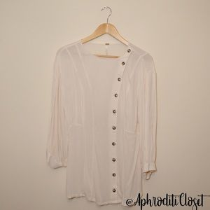 Free People Button Down Asymmetrical Blouse NWOT